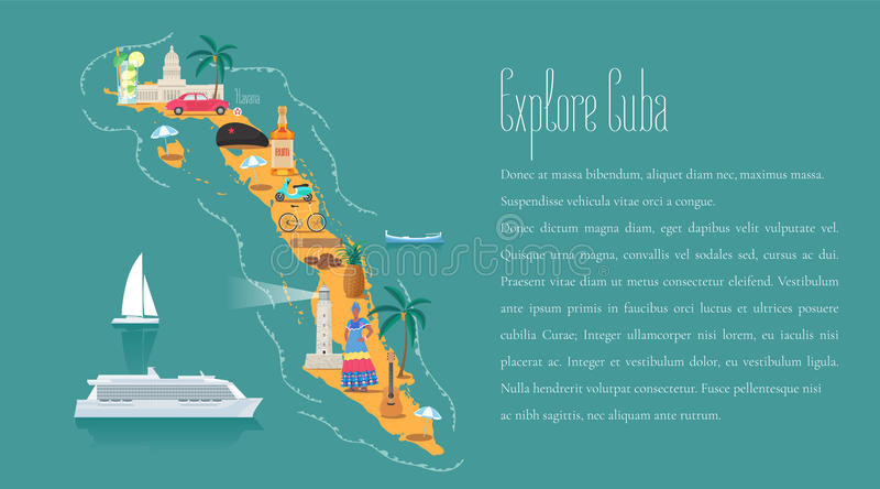 Mapa de Cuba en el ejemplo del vector de la plantilla del artículo, elemento del diseño libre illustration