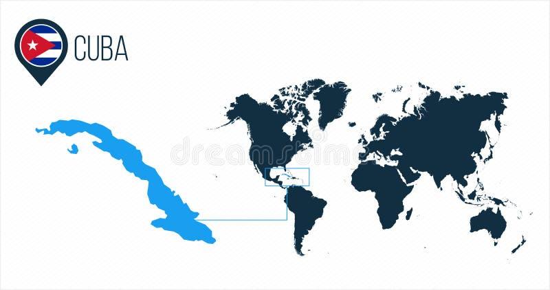 Mapa de Cuba situado en un mapa del mundo con la bandera e indicador o perno del mapa Mapa de Infographic Ejemplo del vector aisl stock de ilustración