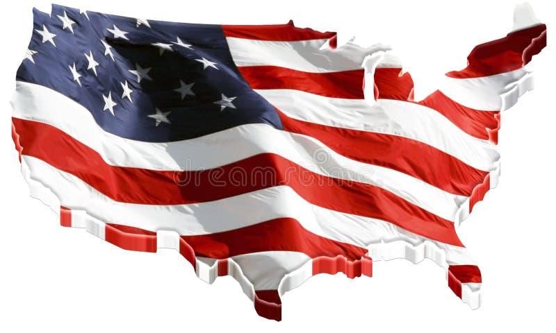 mapa de 3D E.U. e bandeira dos E.U. ilustração do vetor