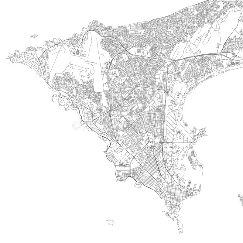 Mapa de Dacar, vista satélite, mapa preto e branco senegal ilustração stock