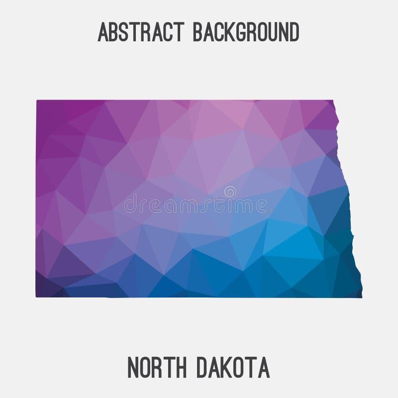 Mapa de Dakota del Norte en poligonal geométrico, estilo del mosaico stock de ilustración