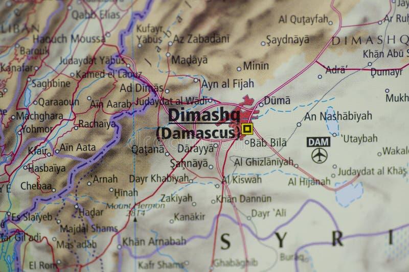 Mapa de Damasco fotografia de stock