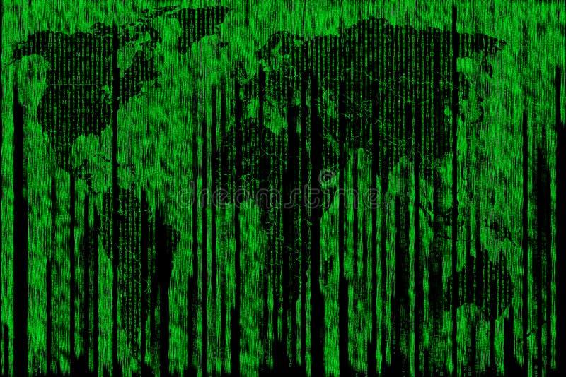 Mapa de Digitas da matriz do mundo foto de stock