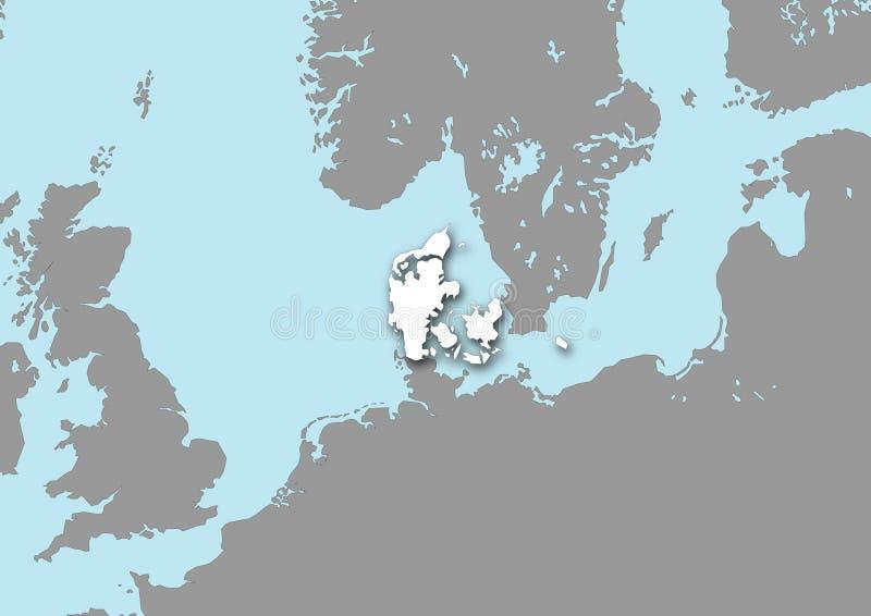 Mapa de Dinamarca ilustração stock