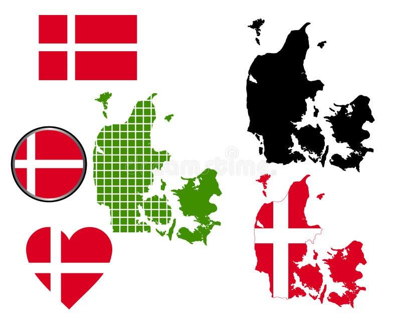 Mapa de Dinamarca ilustração do vetor