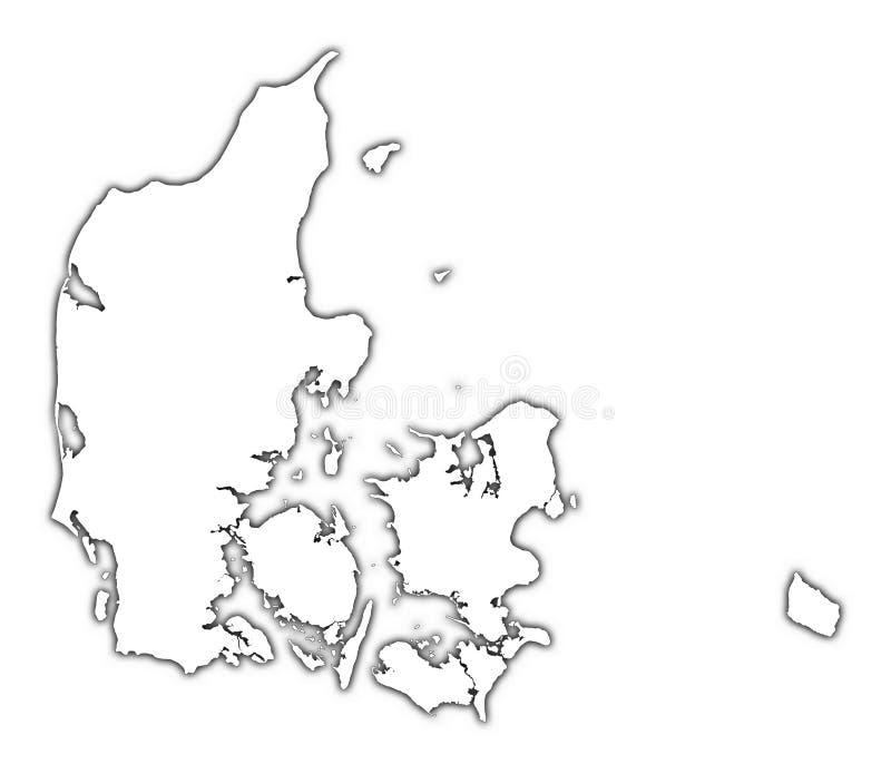 Mapa de Dinamarca com sombra ilustração do vetor