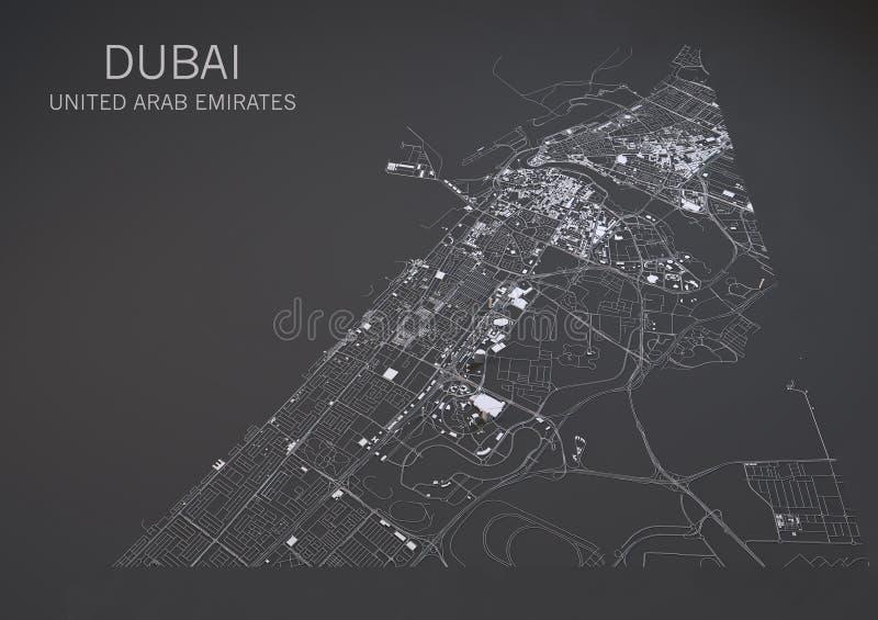 Mapa de Dubai, vista satélite, mapa no negativo, Emiratos Árabes Unidos ilustração royalty free