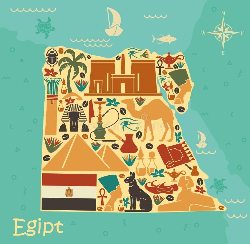 Mapa de Egipto con símbolos tradicionales stock de ilustración