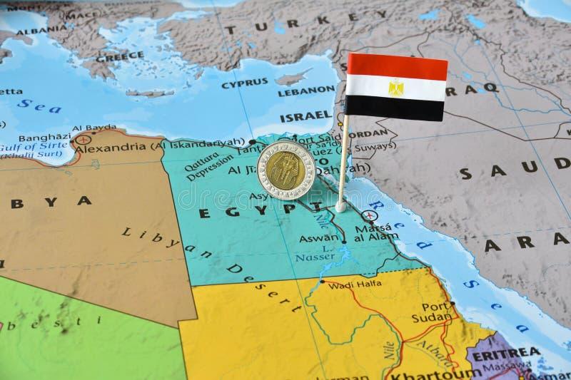 Mapa de Egipto, de la bandera y de la libra egipcia fotos de archivo libres de regalías