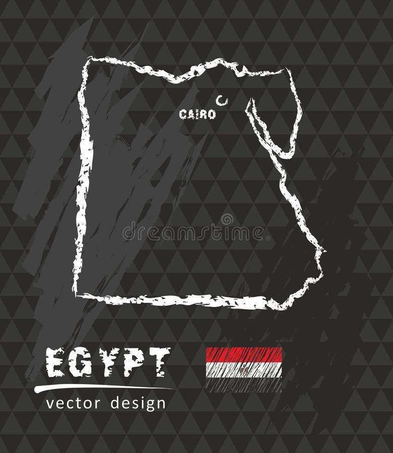 Mapa de Egipto, ejemplo del vector del bosquejo de la tiza ilustración del vector