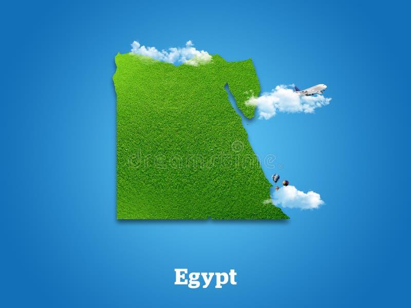 Mapa de Egipto Hierba verde, cielo y concepto nublado fotografía de archivo