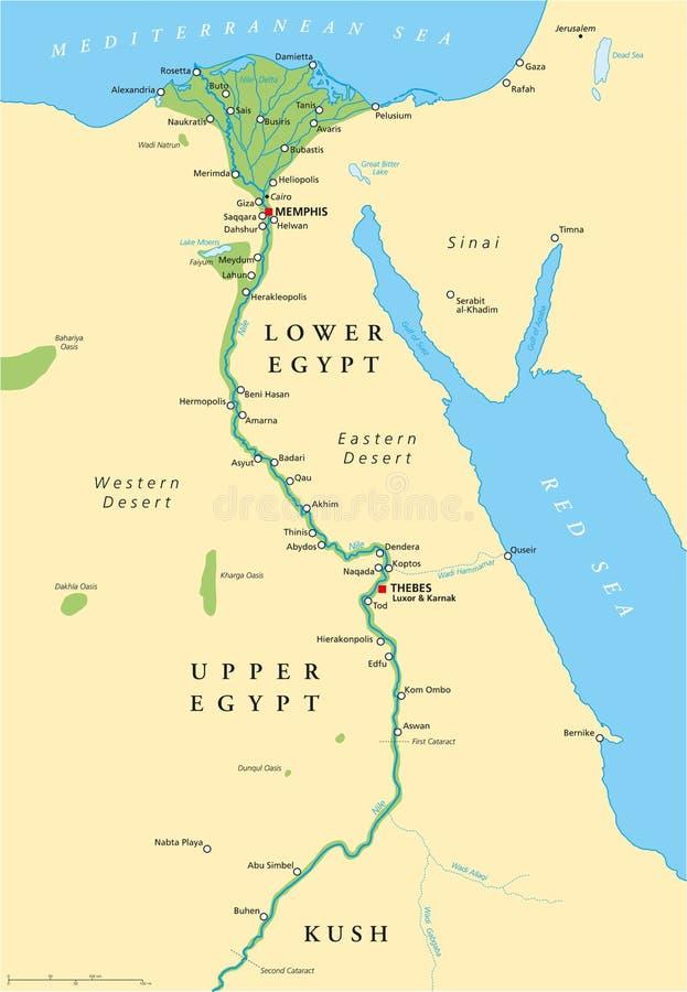Mapa de Egito antigo ilustração do vetor