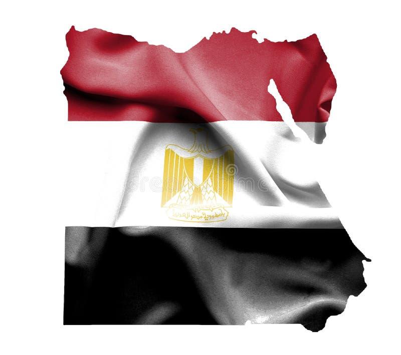 Mapa de Egito com a bandeira de ondulação isolada no branco ilustração do vetor
