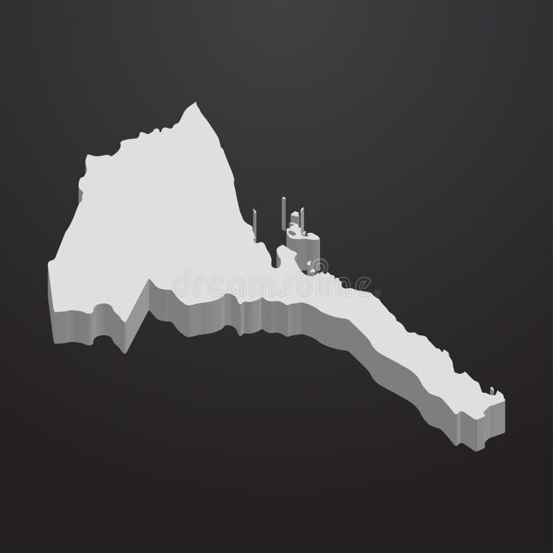 Mapa de Eritrea en gris en un fondo negro 3d ilustración del vector