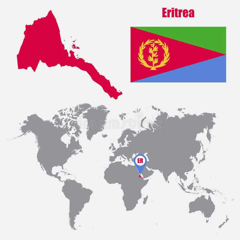 Mapa de Eritrea en un mapa del mundo con el indicador de la bandera y del mapa Ilustración del vector ilustración del vector