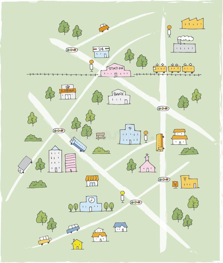 Mapa de esboço bonito tirado mão na cor ilustração stock