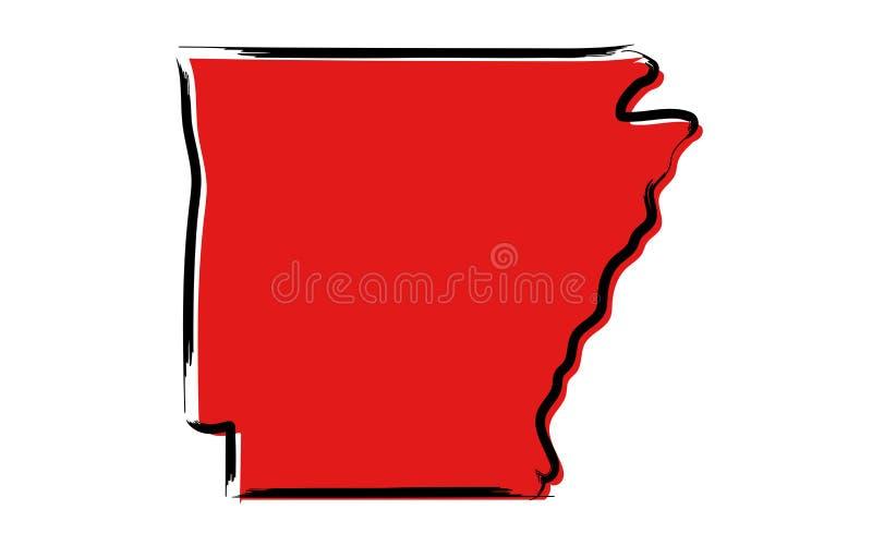 Mapa de esboço vermelho de Arkansas ilustração do vetor