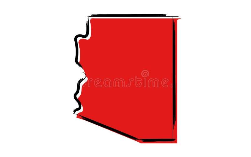 Mapa de esboço vermelho do Arizona ilustração royalty free