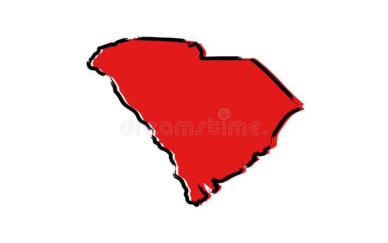 Mapa de esboço vermelho de Kentucky ilustração stock