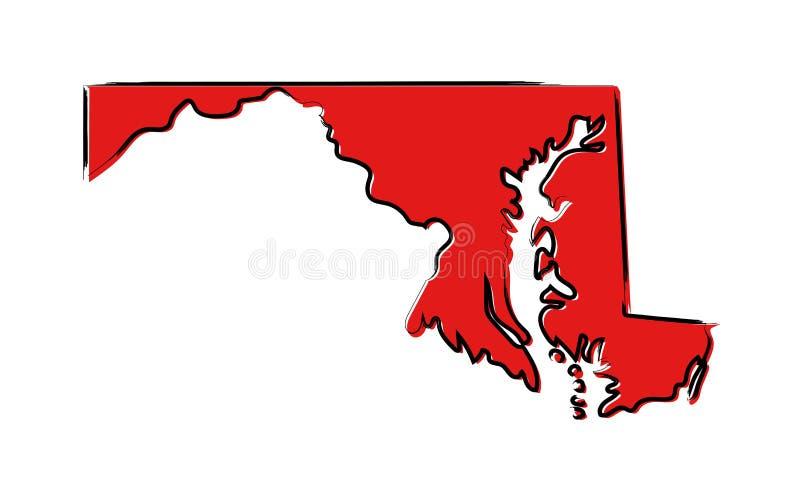 Mapa de esboço vermelho de Maryland ilustração stock