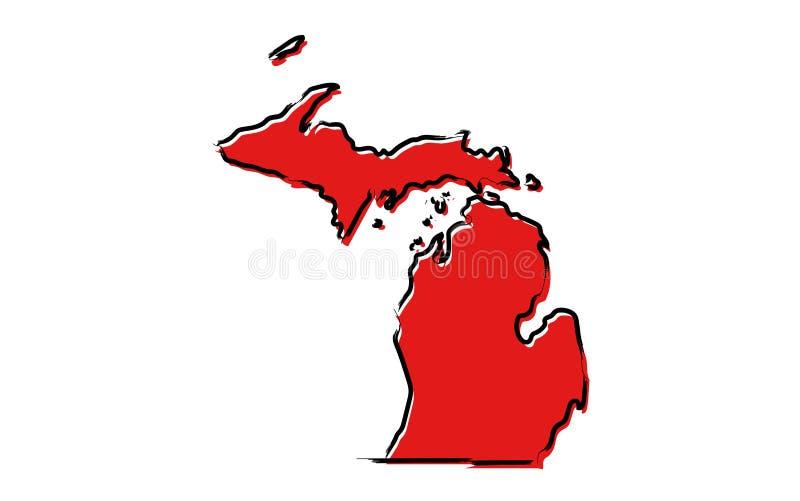 Mapa de esboço vermelho de Michigan ilustração stock