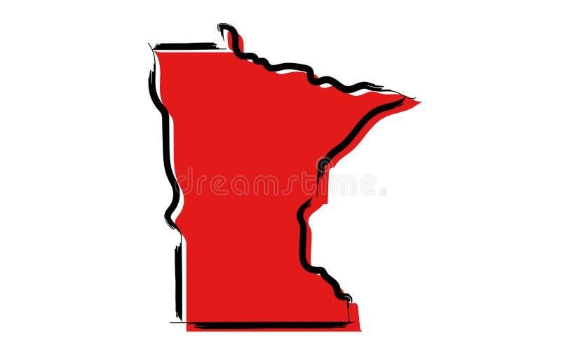 Mapa de esboço vermelho de Minnesota ilustração royalty free