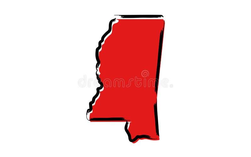 Mapa de esboço vermelho de Mississippi ilustração royalty free