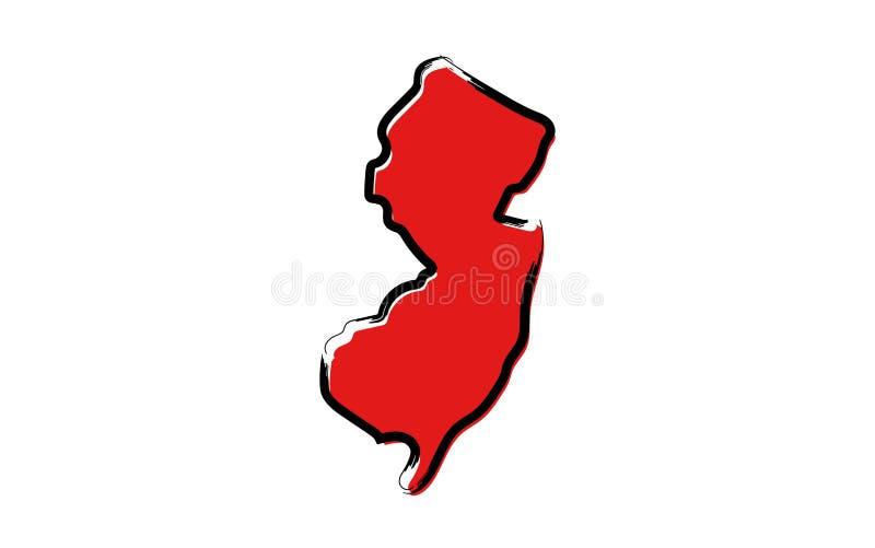 Mapa de esboço vermelho de New-jersey ilustração stock