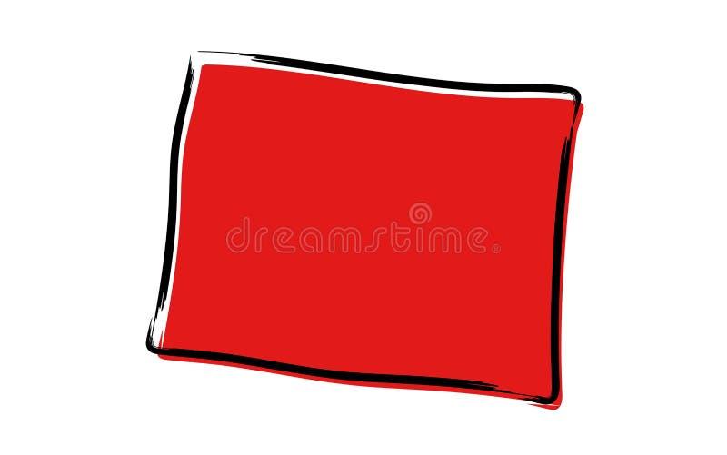 Mapa de esboço vermelho de Wyoming ilustração royalty free