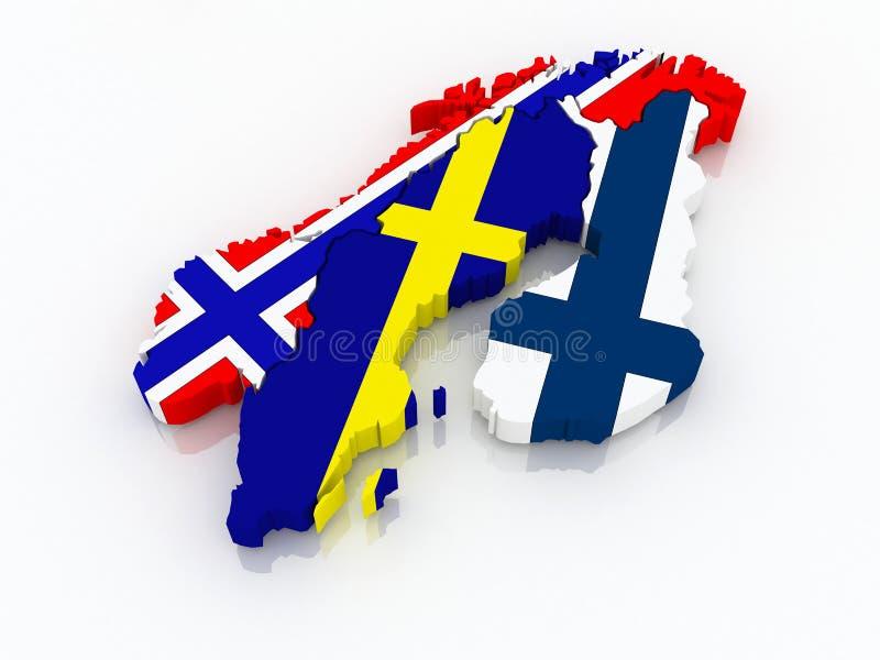 Mapa de Escandinávia. ilustração stock