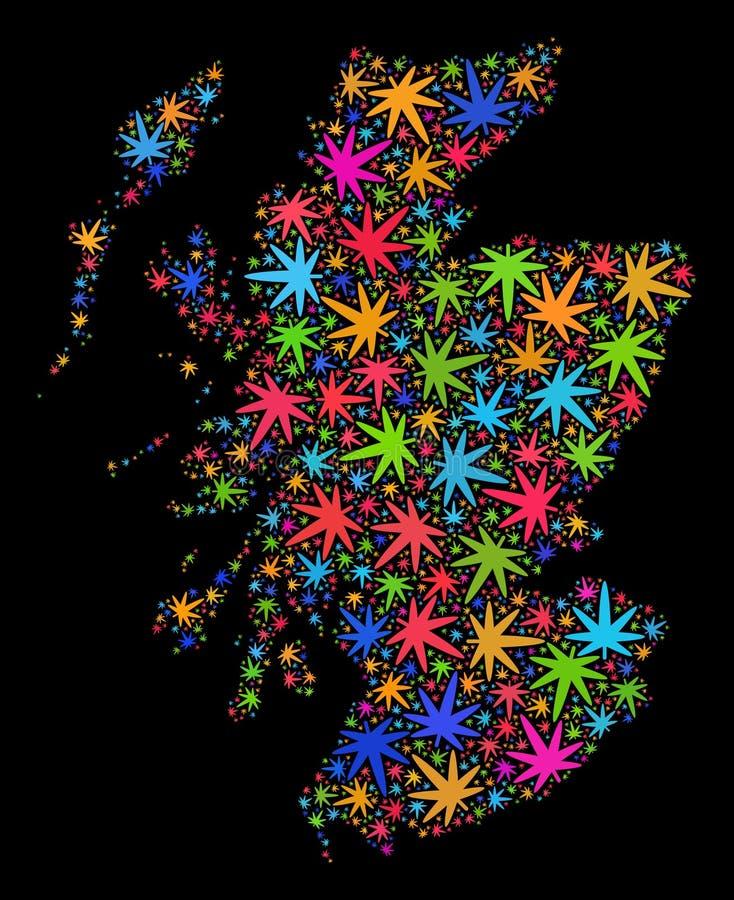 Mapa de Escocia del mosaico de las hojas coloridas del cáñamo stock de ilustración