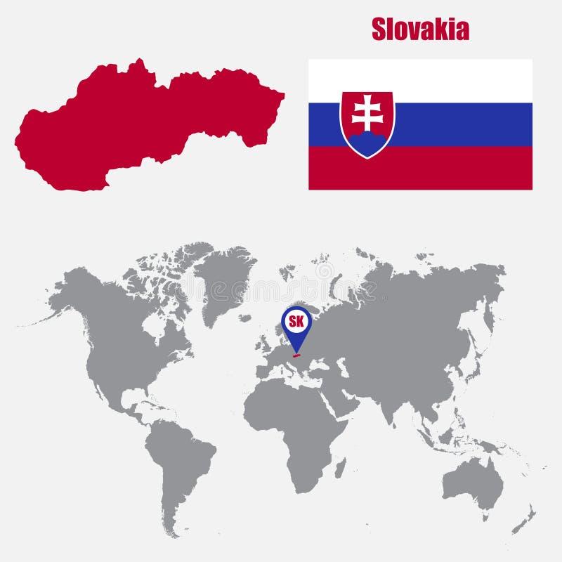 Mapa de Eslovaquia en un mapa del mundo con el indicador de la bandera y del mapa Ilustración del vector ilustración del vector