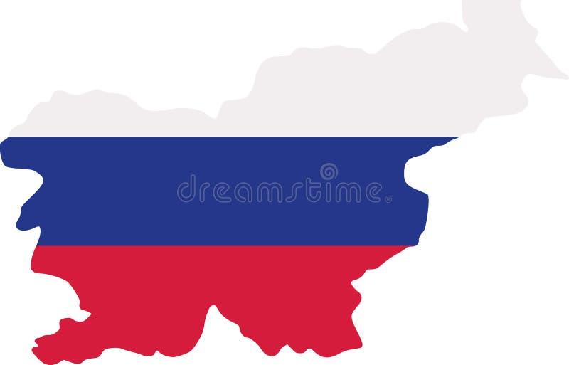 Mapa de Eslovenia con la bandera ilustración del vector