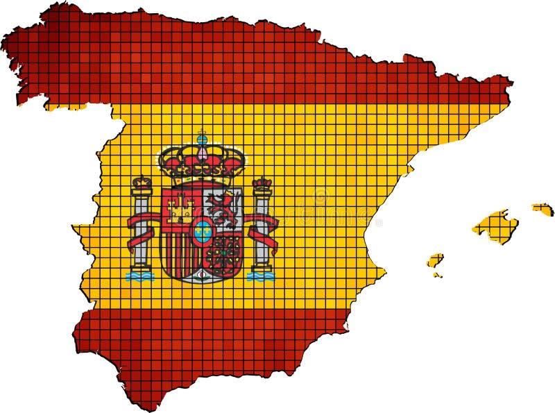 Mapa de España con la bandera dentro ilustración del vector