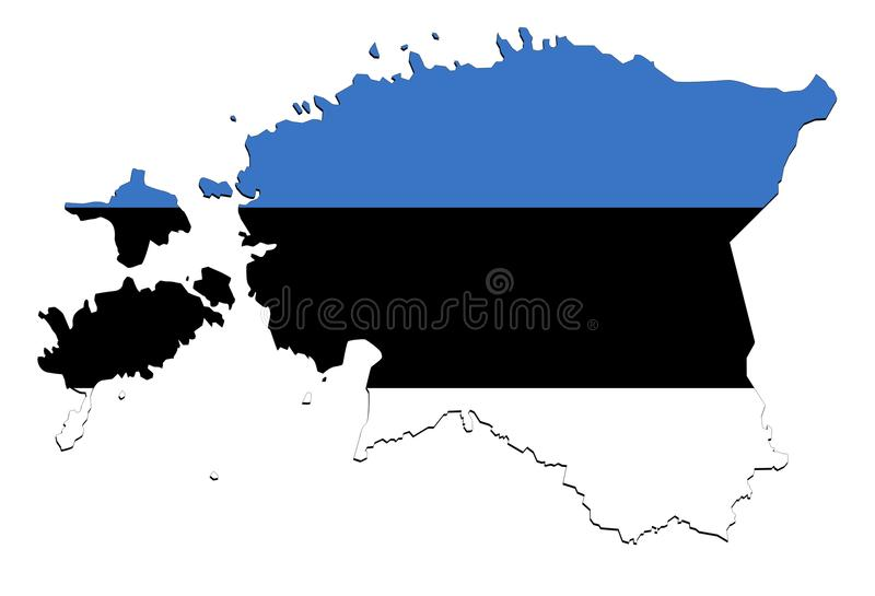 Mapa de Estônia no fundo branco, nenhumas sombras ilustração stock