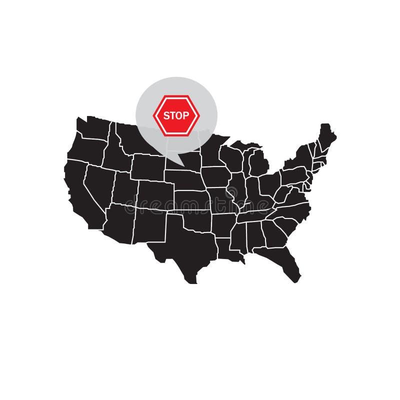 Mapa de Estados Unidos América com um sinal de parada ilustração royalty free