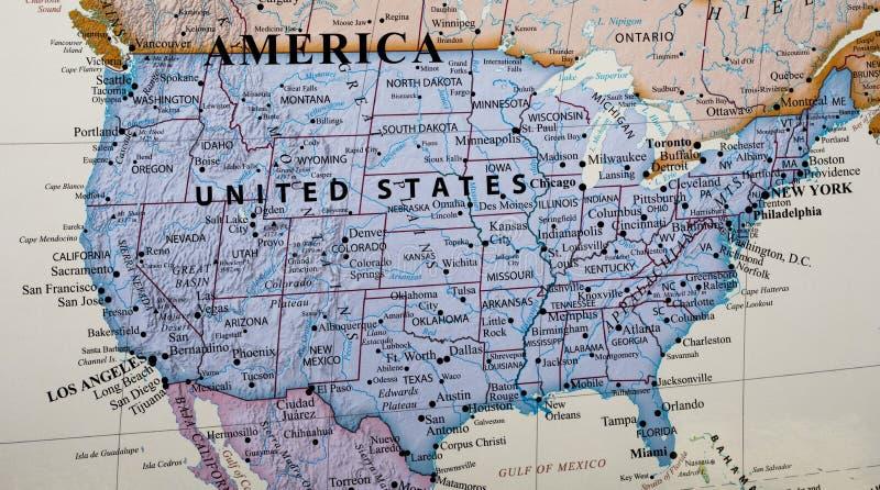 Mapa de Estados Unidos da América imagens de stock