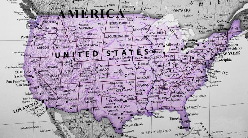 Mapa de Estados Unidos da América fotografia de stock royalty free