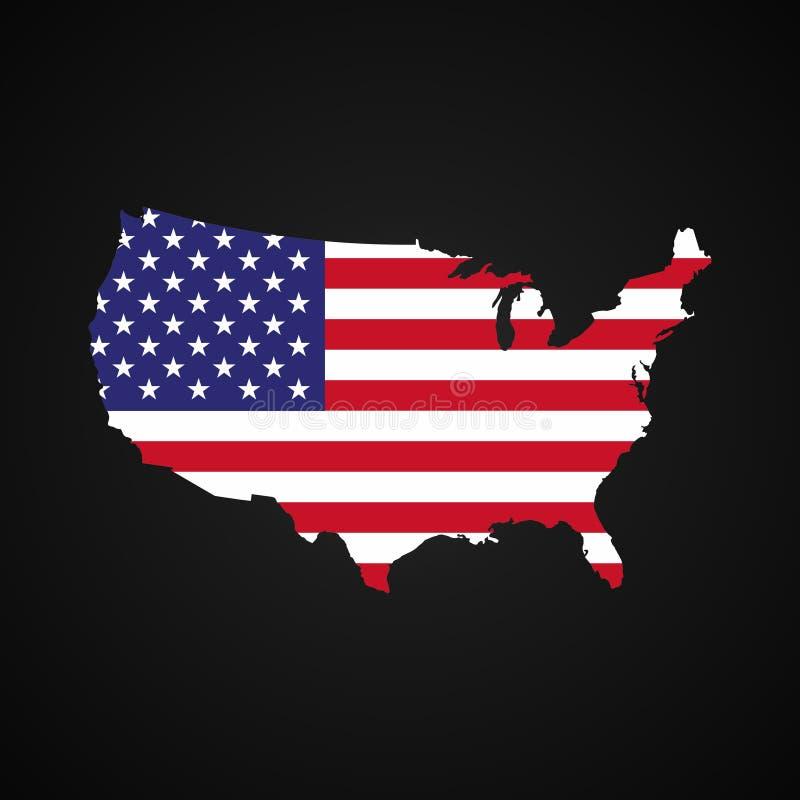Mapa de Estados Unidos da América com a bandeira para dentro Mapa e bandeira dos EUA da silhueta ilustração stock