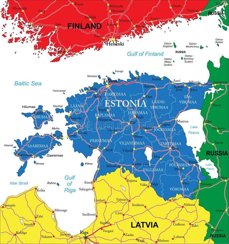 Mapa de Estonia ilustración del vector