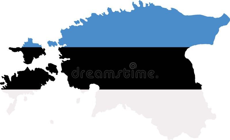 Mapa de Estonia con la bandera stock de ilustración