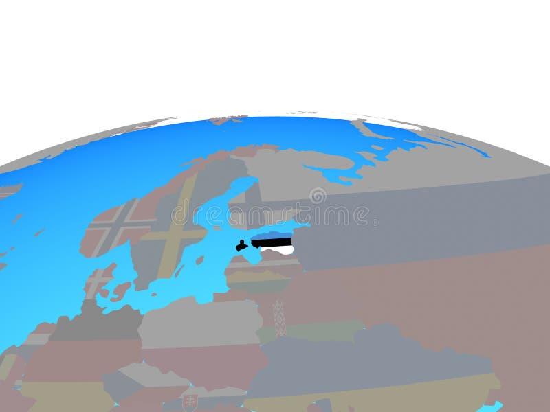 Mapa de Estonia con la bandera en el globo libre illustration