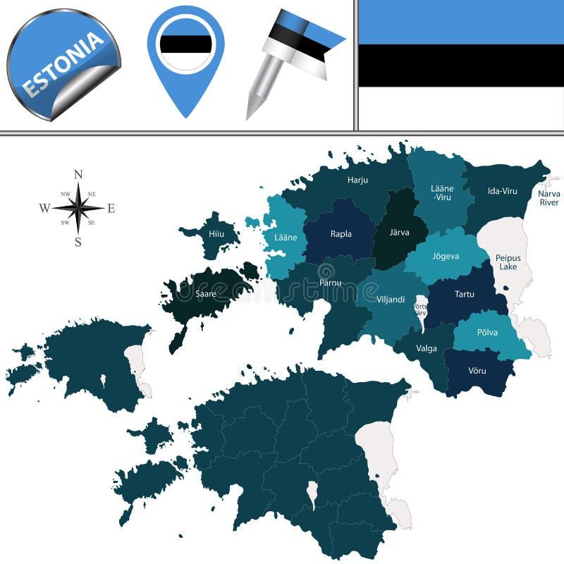 Mapa de Estonia con los condados nombrados libre illustration