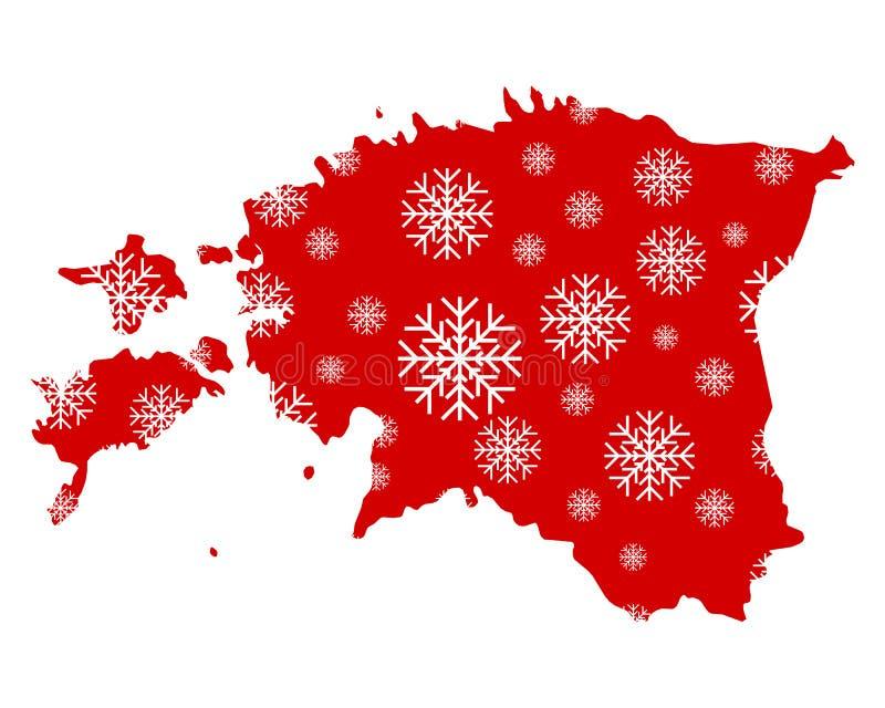Mapa de Estonia con los copos de nieve ilustración del vector