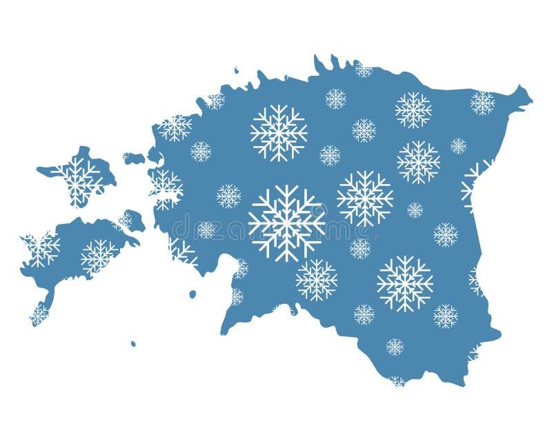 Mapa de Estonia con los copos de nieve stock de ilustración