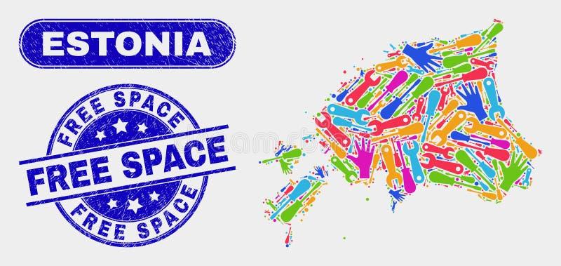 Mapa de Estonia de la producción y apenar sellos del espacio libre stock de ilustración
