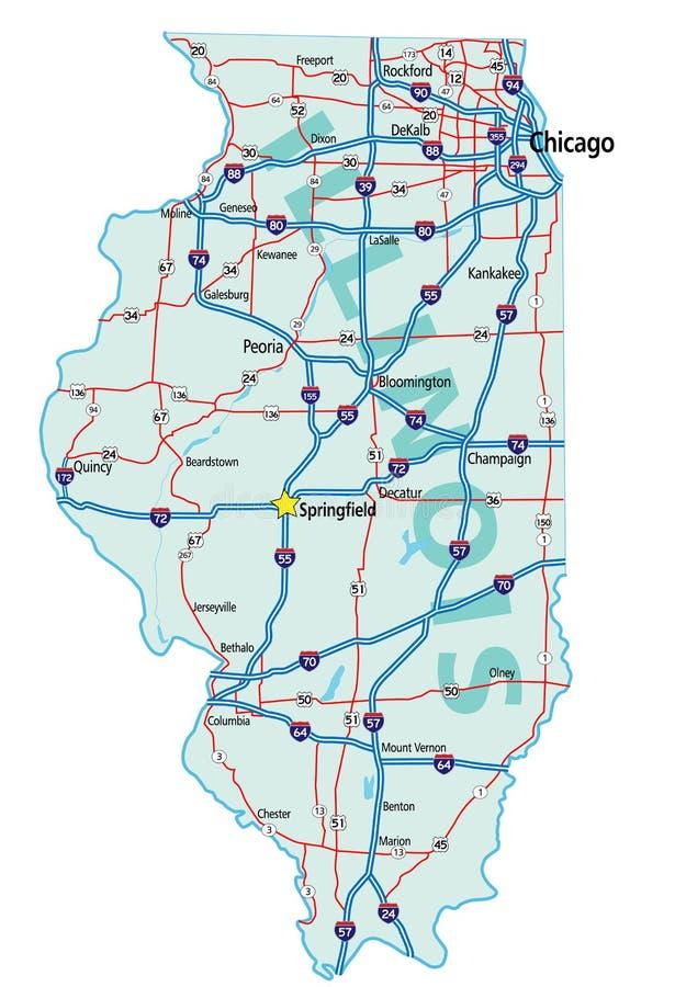 Mapa De Estrada Do Estado De Illinois Ilustração Do Vetor - Mapa de illinois