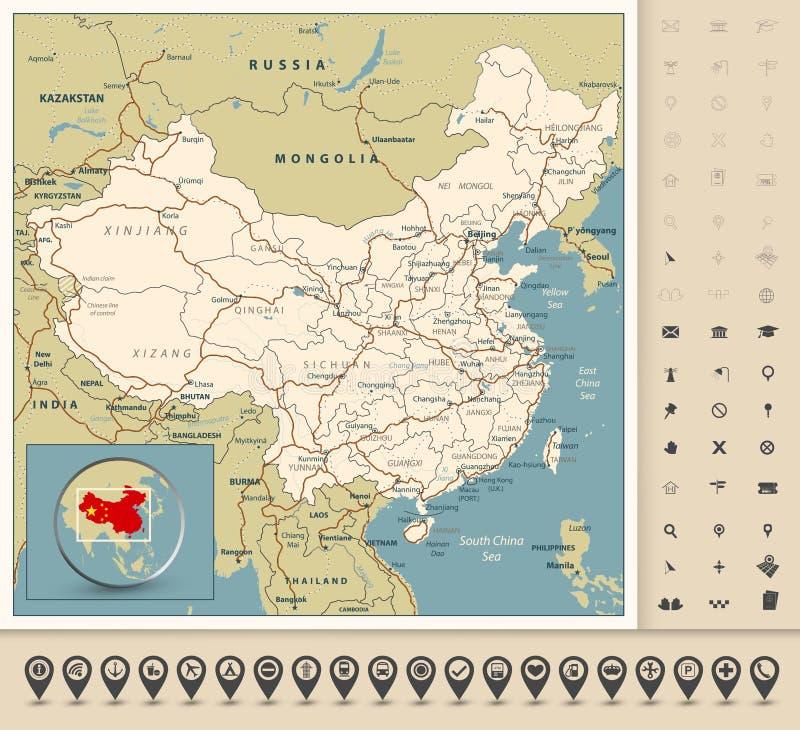 Mapa de estradas altamente detalhado de China com estradas, estradas de ferro, rios ilustração royalty free