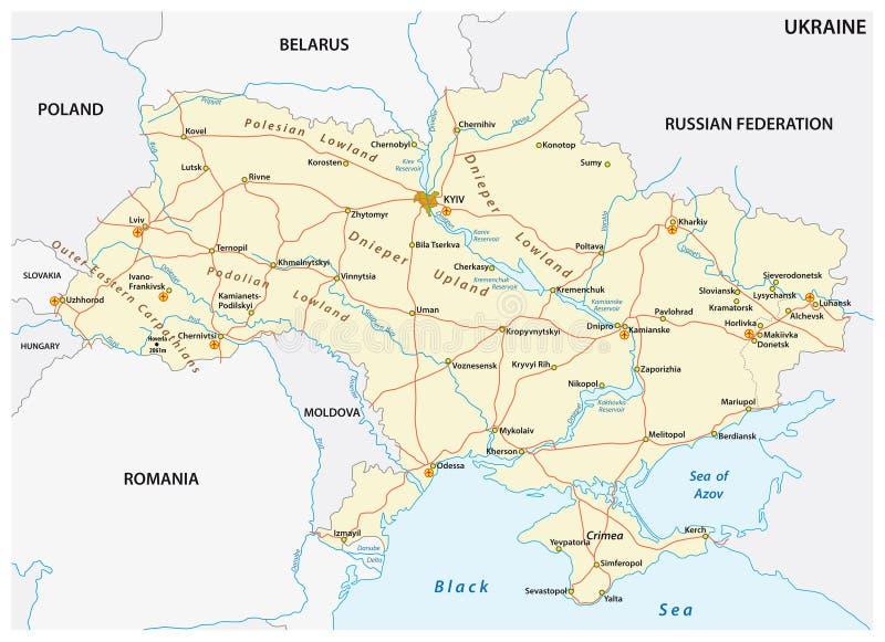 Mapa de estradas colorido detalhado do vetor de Ucrânia ilustração stock