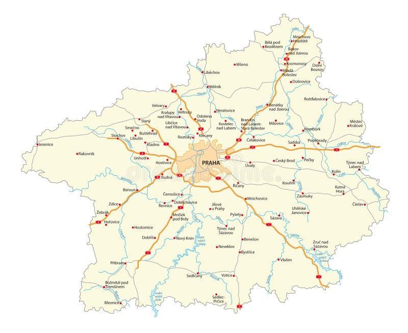 Mapa de estradas da central checa do kraj de Stredocesky da região boêmia ilustração royalty free
